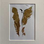 Alltagsengel III, VERKAUFT  Blattgold und Tusche auf Papier, in goldfarbenem Rahmen, inkl. Rahmen  32 x 23 cm