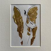 Alltagsengel V, VERKAUFT Blattgold und Tusche auf Papier, in goldfarbenem Rahmen, inkl. Rahmen  32 x 23 cm