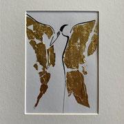 Alltagsengel XI, VERKAUFT Blattgold und Tusche auf Papier, in goldfarbenem Rahmen, inkl. Rahmen  32 x 23 cm