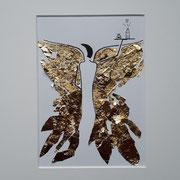 Alltagsengel XXVII, VERKAUFT  Blattgold und Tusche auf Papier, in goldfarbenem Rahmen, inkl. Rahmen  32 x 23 cm