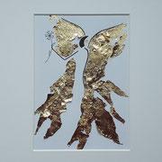 Alltagsengel XXIX, VERKAUFT  Blattgold und Tusche auf Papier, in goldfarbenem Rahmen, inkl. Rahmen  32 x 23 cm