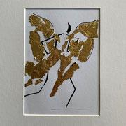 Alltagsengel X, VERKAUFT Blattgold und Tusche auf Papier, in goldfarbenem Rahmen, inkl. Rahmen  32 x 23 cm