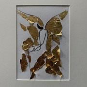 Alltagsengel XXI, VERKAUFT  Blattgold und Tusche auf Papier, in goldfarbenem Rahmen, inkl. Rahmen  32 x 23 cm