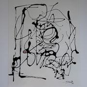 """""""Erkenne das Glück VI""""(Hommage an Baselitz), 70x50 cm, Lack auf Papier, gerahmt"""