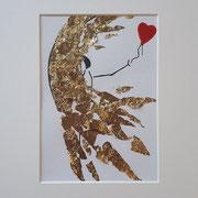 Alltagsengel XXXIV, VERKAUFT Blattgold und Tusche auf Papier, in goldfarbenem Rahmen, inkl. Rahmen  32 x 23 cm