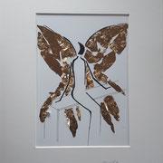 Alltagsengel XXXVIII,  VERKAUFT Blattgold und Tusche auf Papier, in goldfarbenem Rahmen, inkl. Rahmen  32 x 23 cm
