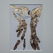 Alltagsengel XXII, VERKAUFT  Blattgold und Tusche auf Papier, in goldfarbenem Rahmen, inkl. Rahmen  32 x 23 cm