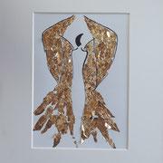Alltagsengel XXXI, VERKAUFT  Blattgold und Tusche auf Papier, in goldfarbenem Rahmen, inkl. Rahmen  32 x 23 cm