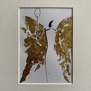 Alltagsengel XIV, VERKAUFT Blattgold und Tusche auf Papier, in goldfarbenem Rahmen, inkl. Rahmen  32 x 23 cm