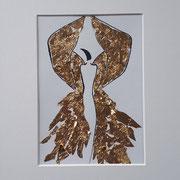Alltagsengel XXXII, VERKAUFT  Blattgold und Tusche auf Papier, in goldfarbenem Rahmen, inkl. Rahmen  32 x 23 cm
