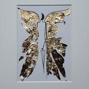 Alltagsengel XXV, VERKAUFT  Blattgold und Tusche auf Papier, in goldfarbenem Rahmen, inkl. Rahmen  32 x 23 cm