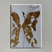 Alltagsengel XII, VERKAUFT Blattgold und Tusche auf Papier, in goldfarbenem Rahmen, inkl. Rahmen  32 x 23 cm