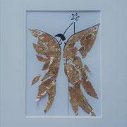 Alltagsengel XXIII, VERKAUFT  Blattgold und Tusche auf Papier, in goldfarbenem Rahmen, inkl. Rahmen  32 x 23 cm