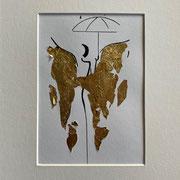 Alltagsengel VI, VERKAUFT  Blattgold und Tusche auf Papier, in goldfarbenem Rahmen, inkl. Rahmen  32 x 23 cm