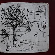 """""""Gedankenreise II"""", Lack auf handg. Papier, 60 x 80 cm, gerahmt, verkauft"""
