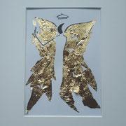 Alltagsengel XXVIII, VERKAUFT  Blattgold und Tusche auf Papier, in goldfarbenem Rahmen, inkl. Rahmen  32 x 23 cm