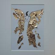 Alltagsengel XVII,  Blattgold und Tusche auf Papier, in goldfarbenem Rahmen, inkl. Rahmen  32 x 23 cm