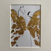 Alltagsengel XIII, VERKAUFT Blattgold und Tusche auf Papier, in goldfarbenem Rahmen, inkl. Rahmen  32 x 23 cm