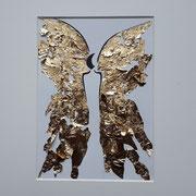 Alltagsengel XXVI, VERKAUFT  Blattgold und Tusche auf Papier, in goldfarbenem Rahmen, inkl. Rahmen  32 x 23 cm