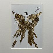 Alltagsengel XVI, VERKAUFT  Blattgold und Tusche auf Papier, in goldfarbenem Rahmen, inkl. Rahmen  32 x 23 cm