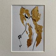 Alltagsengel II, VERKAUFT  Blattgold und Tusche auf Papier, in goldfarbenem Rahmen, inkl. Rahmen  32 x 23 cm