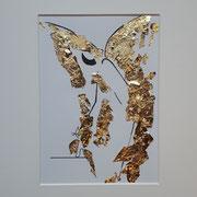 Alltagsengel XIX, VERKAUFT Blattgold und Tusche auf Papier, in goldfarbenem Rahmen, inkl. Rahmen  32 x 23 cm