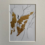 Alltagsengel IV, UNVERKÄUFLICH Blattgold und Tusche auf Papier, in goldfarbenem Rahmen, inkl. Rahmen  32 x 23 cm