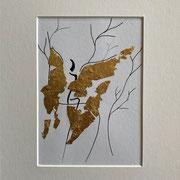 Alltagsengel IV, VERKAUFT Blattgold und Tusche auf Papier, in goldfarbenem Rahmen, inkl. Rahmen  32 x 23 cm