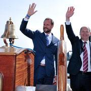 Hafengeburtstag Hamburg, Kronprinz Haakon von Norwegen und Hamburgs Erster Bürgermeister Olaf Scholz, Hamburg Messe