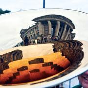 Tag der Ein-und Ausblicke im Deutschen Bundestag. Eröffnung vor dem Reichstag durch Eduard Oswald, und der Harmoniemusik Maingründel e.V., Dt. Bundestag