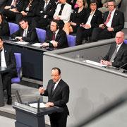 50 Jahre Elysee – Vertrag im Deutschen Bundestag. Gemeinsame Sitzung des Deutschen Bundestages und der Assemblee Nationale.Impressionen aus dem Reichstag während der Ansprache des französischen Staatspräsidenten Francois Hollande, Dt.Bundestag