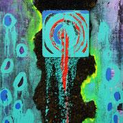 Deep Sea, 2012, Assemblage mit Acryl, Lack, Spachtelmasse, Wolle, Holz auf Leinwand, 0,8 x 0,6m