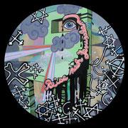 reise nach jerusalem, 2013, Acryl, Lack auf runde Leinwand (Durchmesser 50 cm)