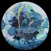 sprout, 2013, Acryl, Lack auf runde Leinwand (Durchmesser 50 cm)