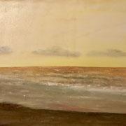 'goldenes Meeresrauschen'  Ölfarben und Sand  auf Keilrahmen 80 x 60 gemalt (inkl. Rahmen)  Wert: 350.-