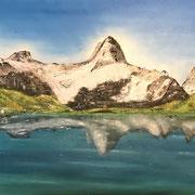'Ruhe am Bergsee' Ölgemälde