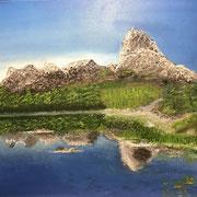 'an einem Bergsee in der Stille ankommen'  Ölfarben