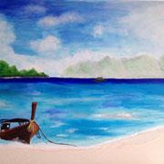'in sich ankommend'  Acrylfarben, Sand