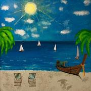 'Ferien:'  Acrylfarben  110 x 90cm (das Bild wurde im Pflegeheim mit Bewohnern gemalt)