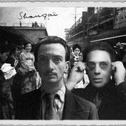 Arrivée d'André Breton et Salvador Dali à Shanghai, photographie de Raymond Tchang.