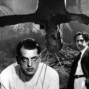 """Luis Buñuel et Joseph von Sternberg en visite dans un plan de """"Cendres et diamants"""" de Andrzej Wajda"""