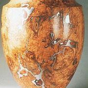 """""""Vase"""" loupe de frêne, buyère, étain - h 55 cm - 1997"""
