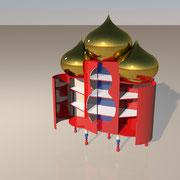 "3D Entwurf ""Basilika"" Schrank offen"