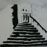 Treppe2, Bleistift& Kohle auf Papier 50x70cm