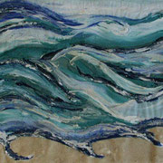 Meer, Acrylfarbe/Silikon/Sand auf Papier 50x70cm