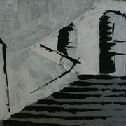 Treppe1, Bleistift& Kohle auf Papier 50x70cm
