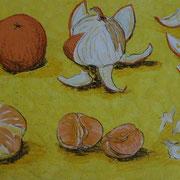 Orangen, Acrylfarbe auf Papier 50x70cm