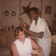 1985 - Essai de coiffure africaine (pas très concluant)