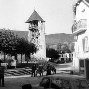 Le clocher d'Arette lors du tremblement de terre du 13 août 1967 - © Sud-Ouest/Mairie d'Arette