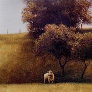 Pâture - acrylique sur bois - 45x45 cm - 2004 - M.Pavlïn